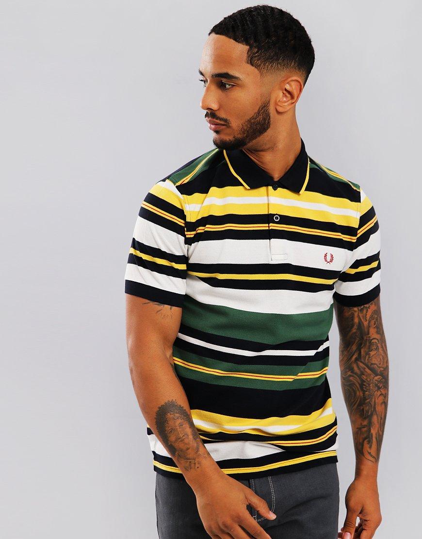 d548847458 Fred Perry Bold Stripe Polo Shirt Tartan Green