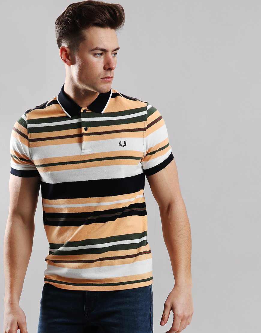 Fred Perry Bold Stripe Polo Shirt Apricot Nectar