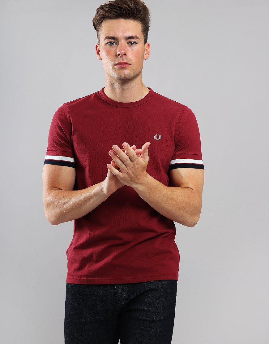 Fred Perry Bold Tipped T-Shirt Maroon