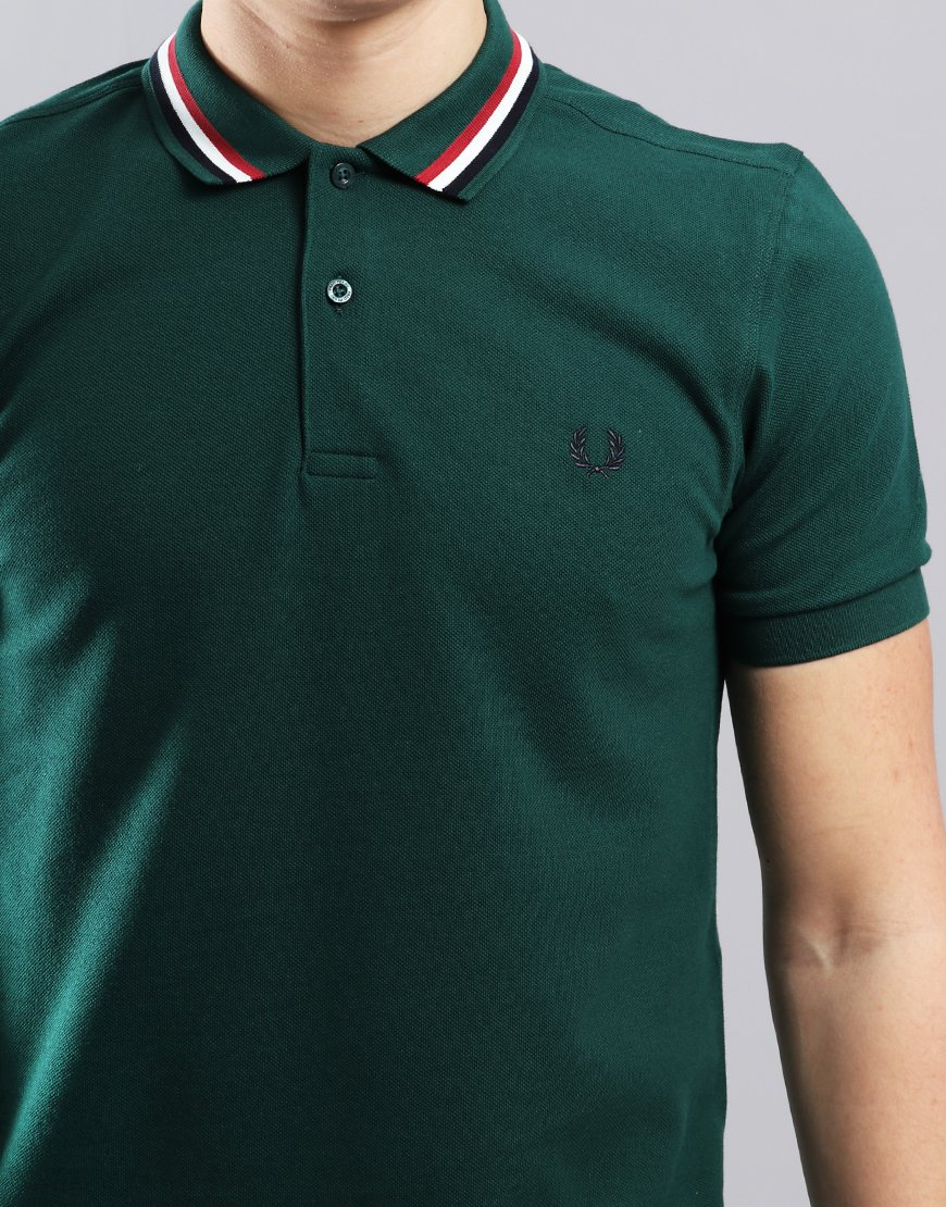7b8f8f7e Fred Perry Bomber Stripe Pique Polo Shirt Ivy - Terraces Menswear