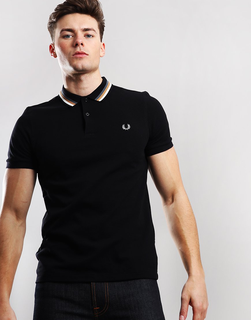 0d6e2c0c Fred Perry Bomber Stripe Pique Polo Shirt Black