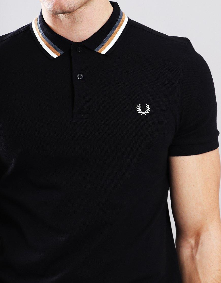 4e6244c8c Fred Perry Bomber Stripe Pique Polo Shirt Black - Terraces Menswear