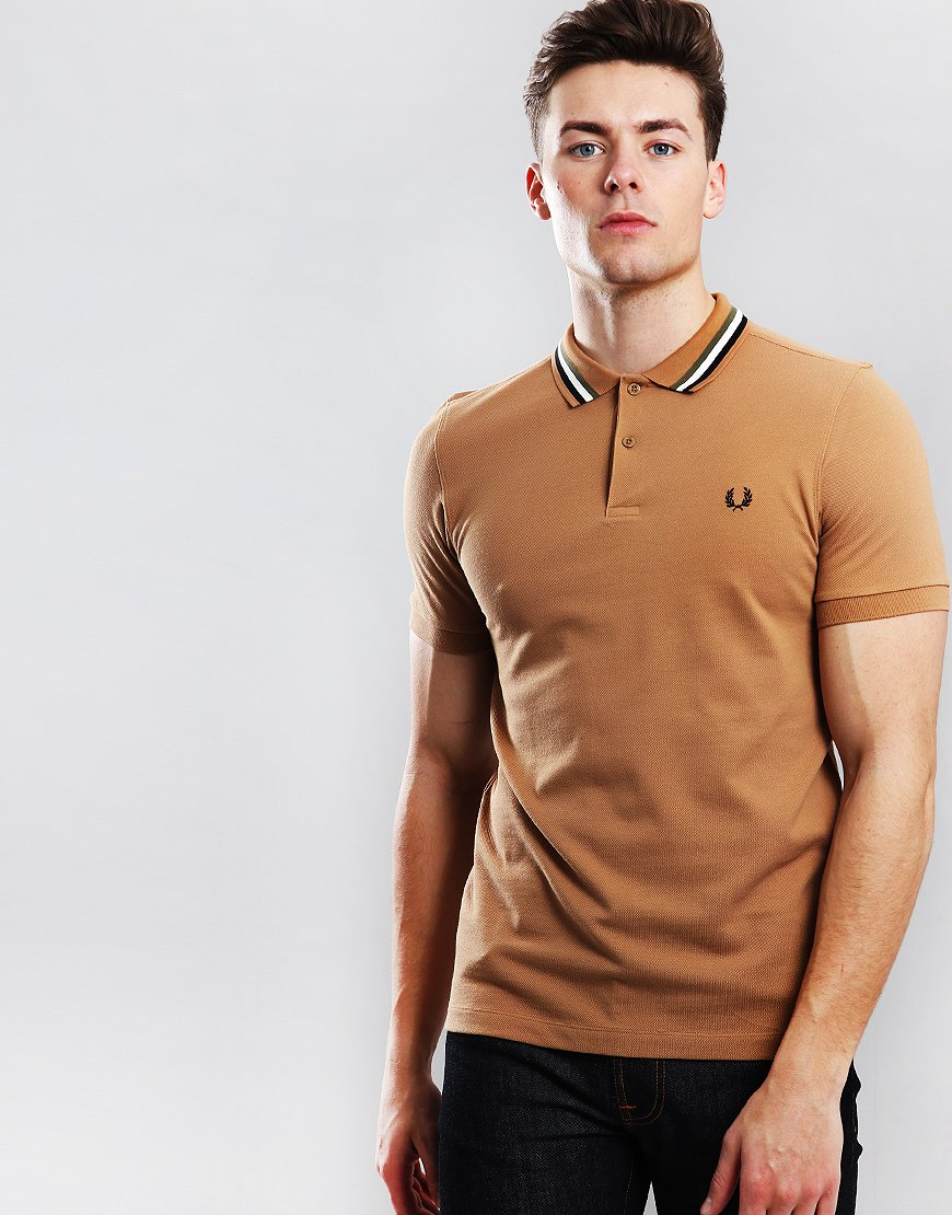 133f4e0c Fred Perry Bomber Stripe Pique Polo Shirt Caramel - Terraces Menswear