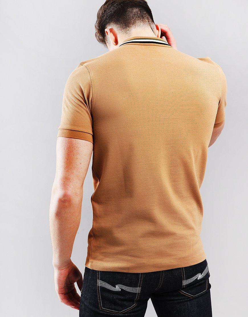 133f4e0c Fred Perry Bomber Stripe Pique Polo Shirt Caramel - Terraces Menswear