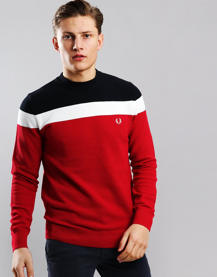 Fred Perry Colour Block Crew Neck Knit Winter Red