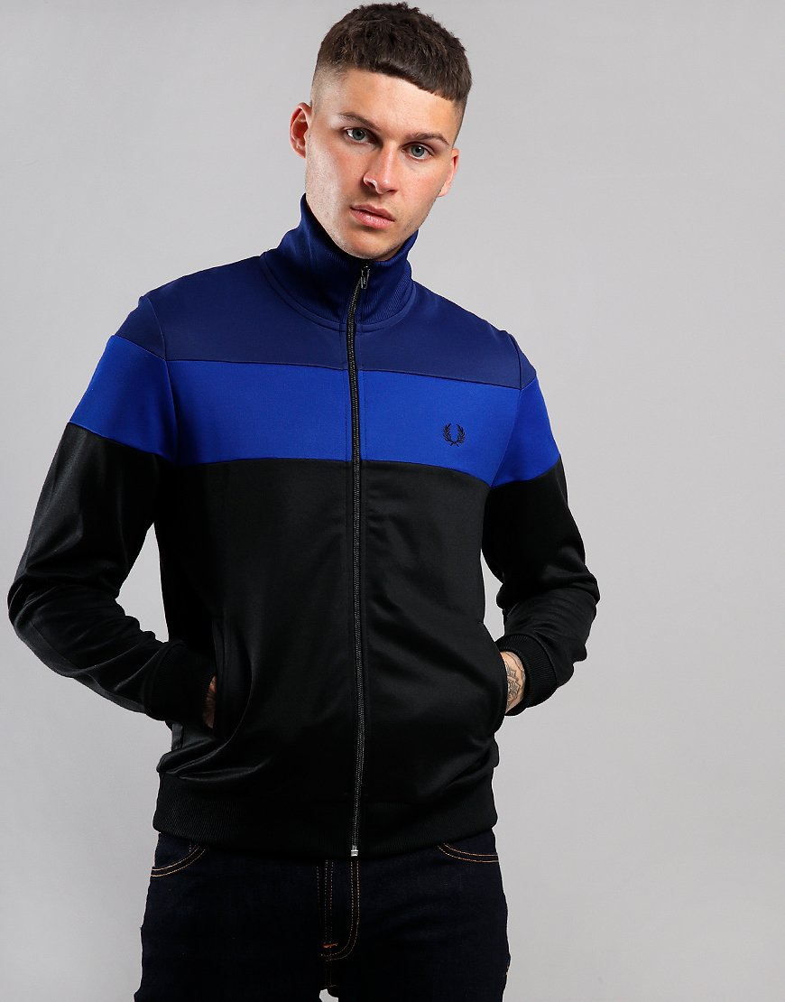 Fred Perry Graphic Print Colour Block Track Top Bright Regal