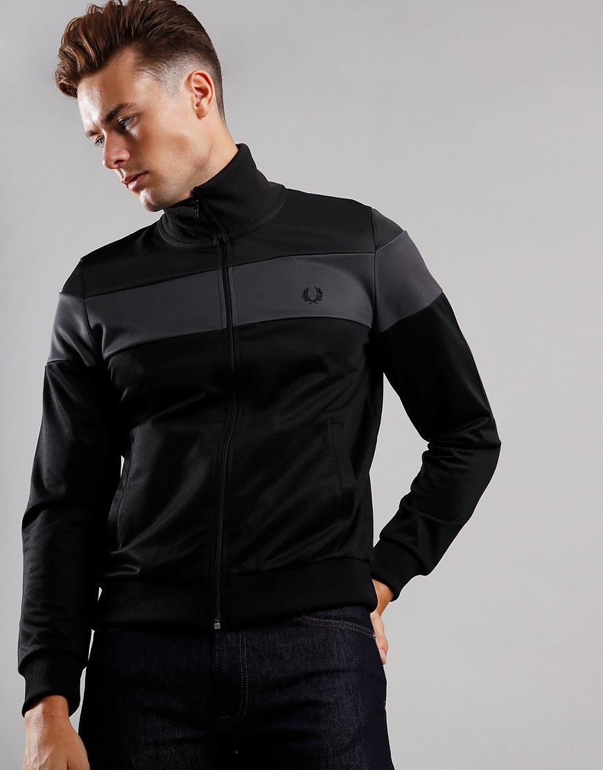 Fred Perry Graphic Print Colour Block Track Top Gunmetal