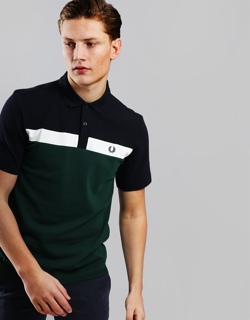 53aff00b5 Fred Perry Contrast Panel Pique Polo Shirt Ivy