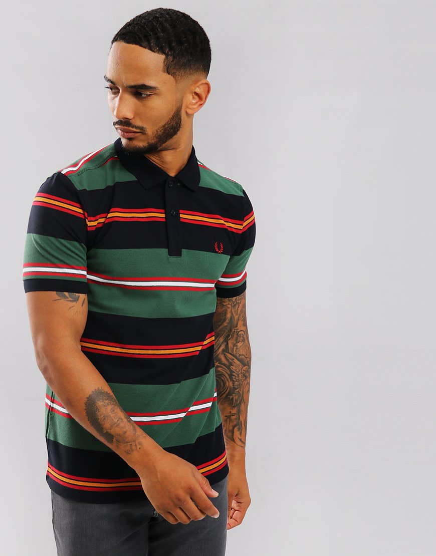 Fred Perry Contrast Stripe Polo Shirt Navy