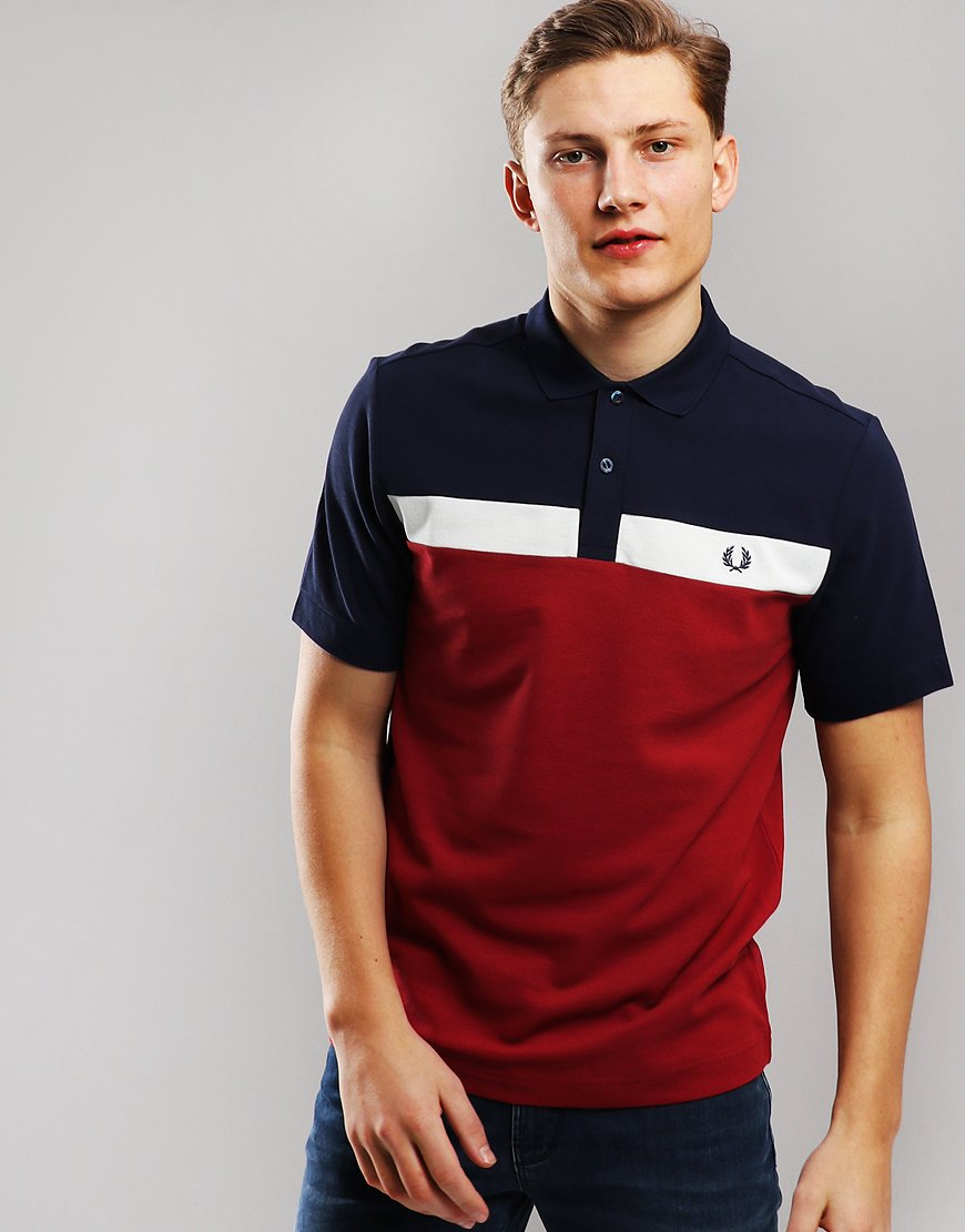 31bd1e2c8 Fred Perry Contrast Panel Pique Polo Shirt Rich Red