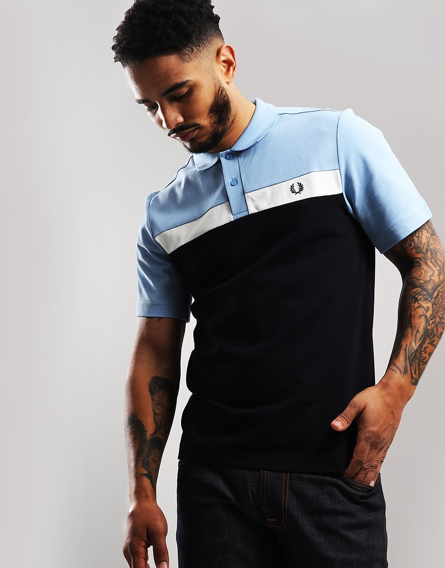 Fred Perry Contrast Panel Pique Polo Shirt Sky