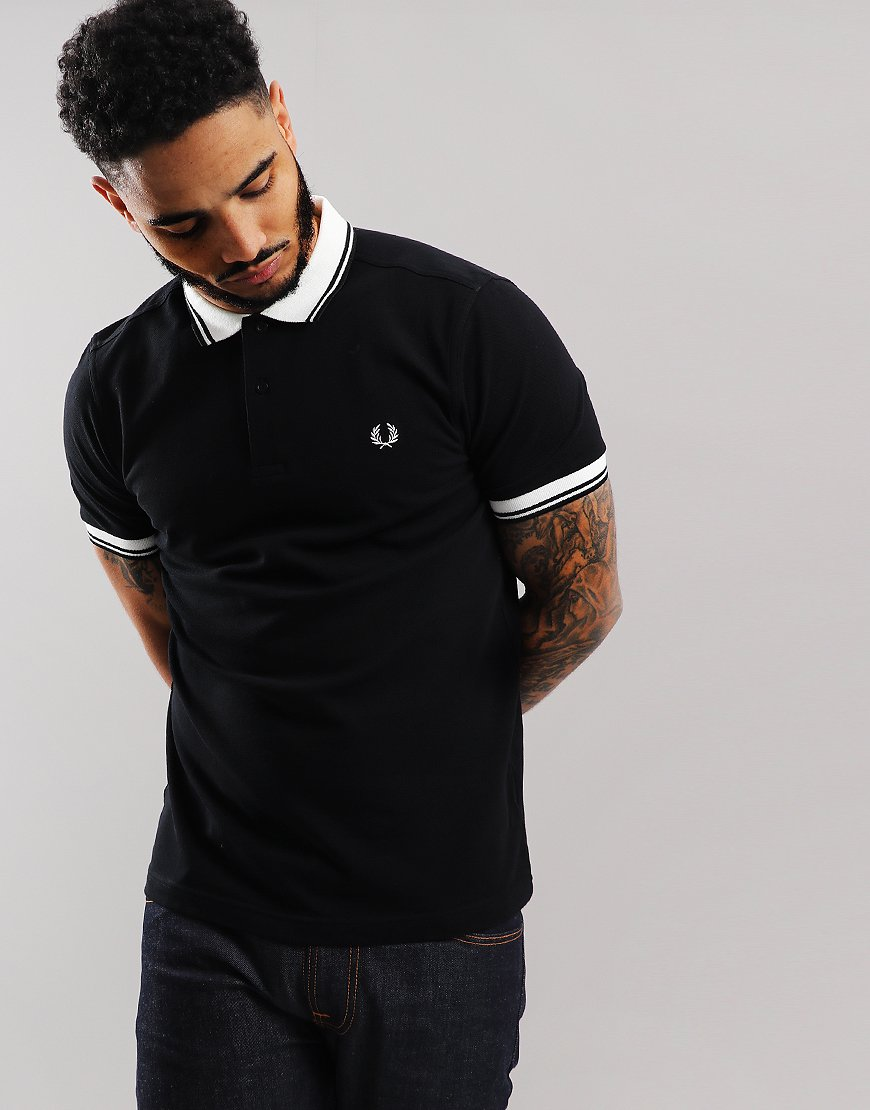 01ea85952 Fred Perry Contrast Rib Pique Polo Shirt Black - Terraces Menswear