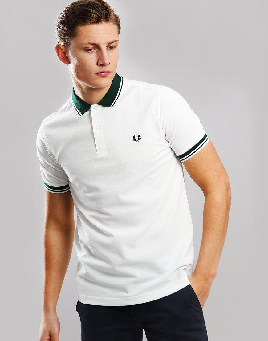 245d9d800d7 Fred Perry Contrast Rib Pique Polo Shirt Snow White - Terraces Menswear