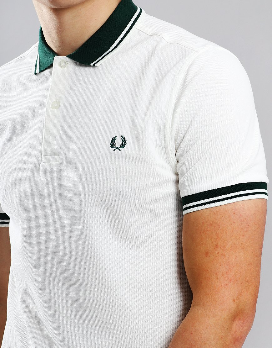 2cdf328c7 Fred Perry Contrast Rib Pique Polo Shirt Snow White - Terraces Menswear