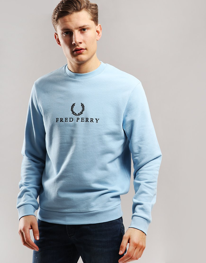 2e5f60fe841 Fred Perry Embroidered Sweatshirt Glacier