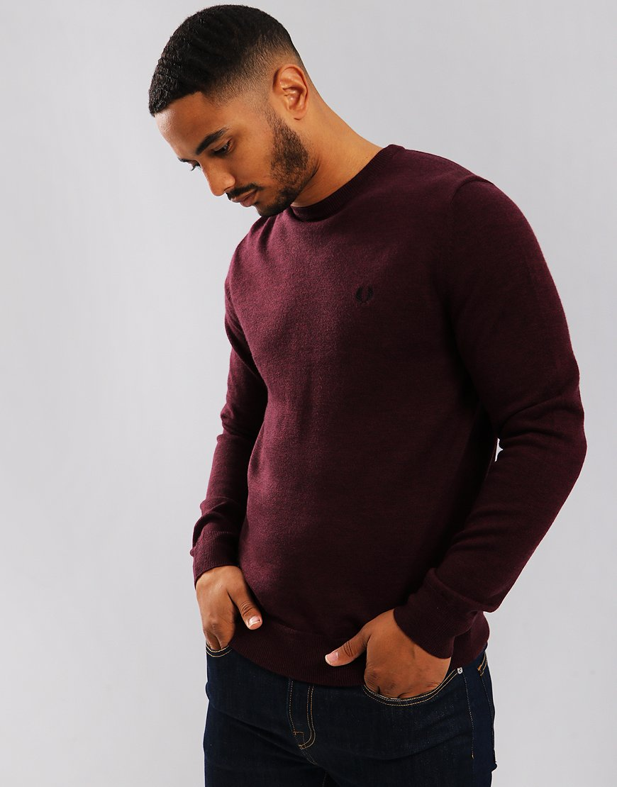 Fred Perry Crew Neck Knitted Sweat Mahogany Marl