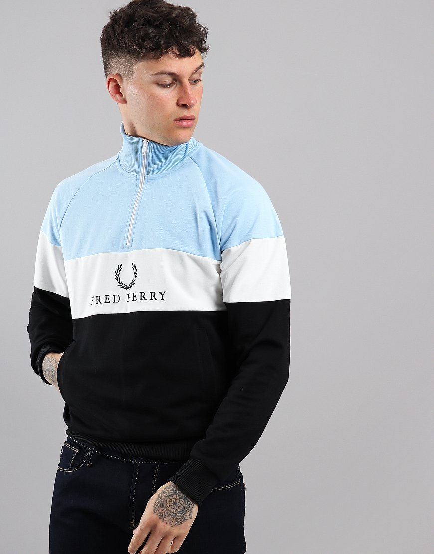Fred Perry Embroidered Panel Track Sweat Glacier