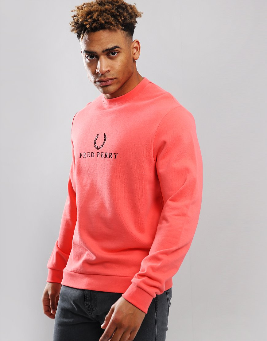 Fred Perry Embroidered Sweatshirt Pink