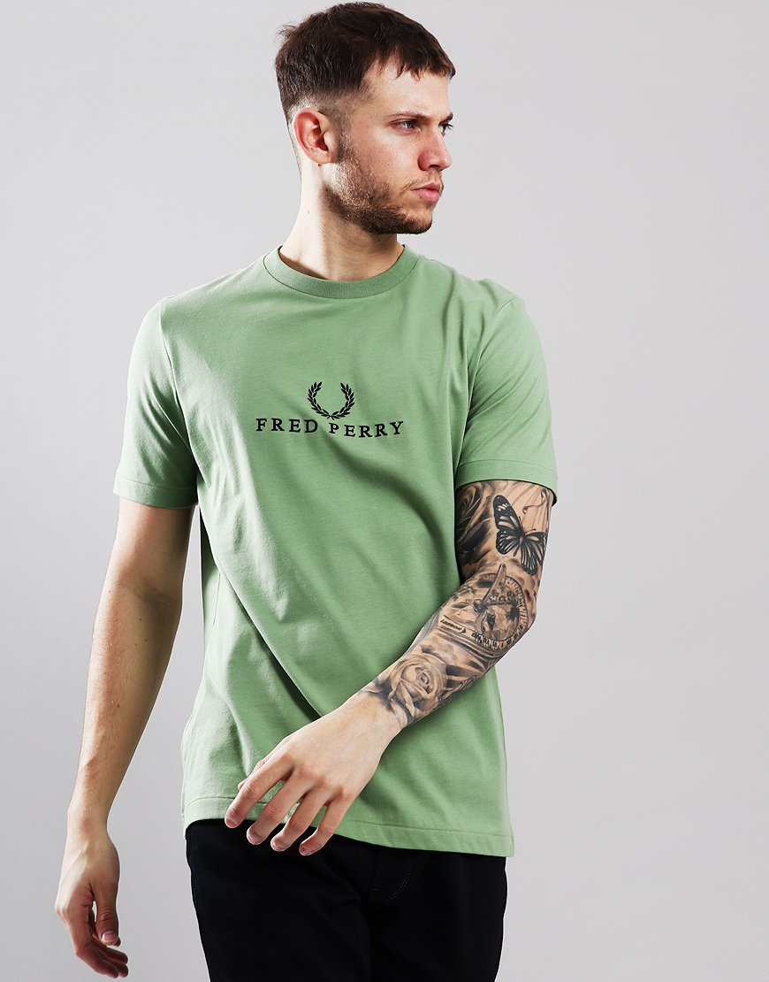 94306cb9a199cc Fred Perry Embroidered T-Shirt Pistachio - Terraces Menswear