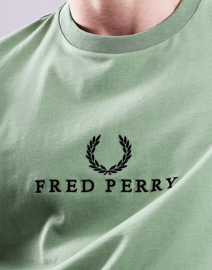 8a502cc2 Fred Perry Embroidered T-Shirt Pistachio - Terraces Menswear