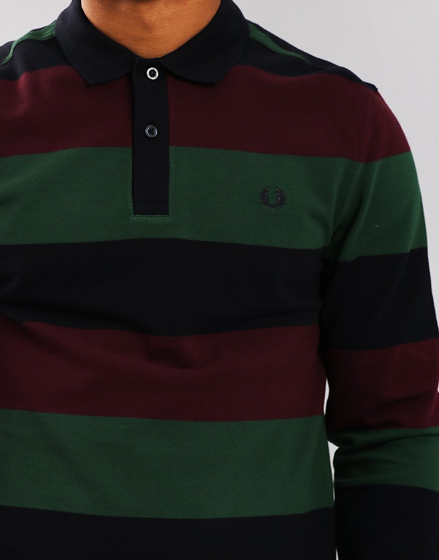 Fred Perry Enlarged Stripe Polo Shirt Navy