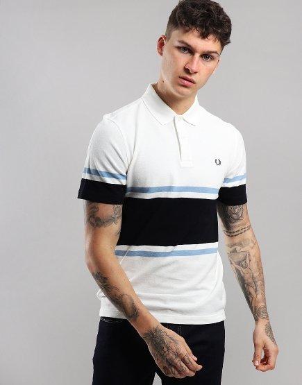 Fred Perry Fine Stripe Polo Shirt Snow White