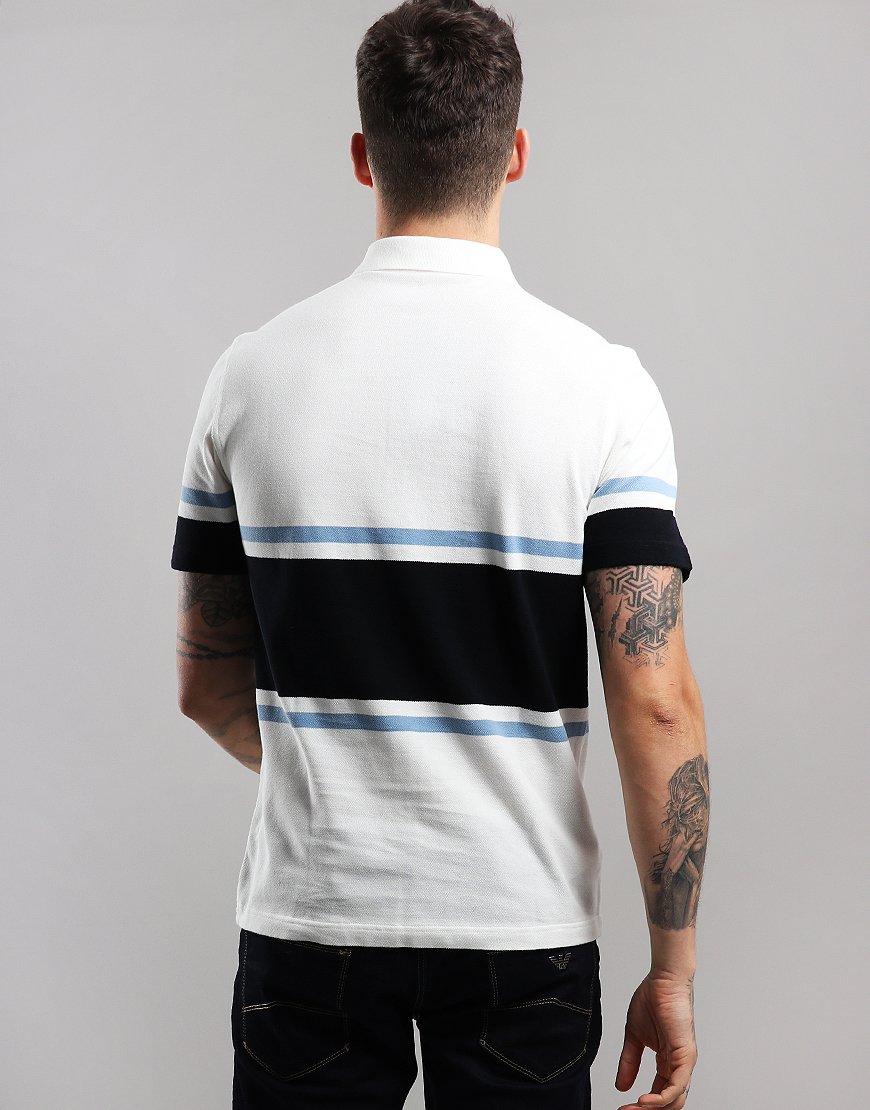 e0d9c84e5 Fred Perry Bold Fine Stripe Polo Shirt Snow White - Terraces Menswear