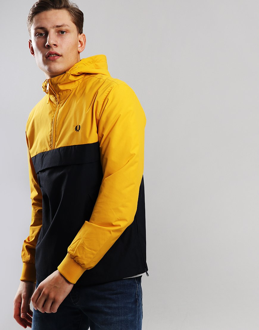 Fred Perry Half Zip Panelled Jacket Bright Amber