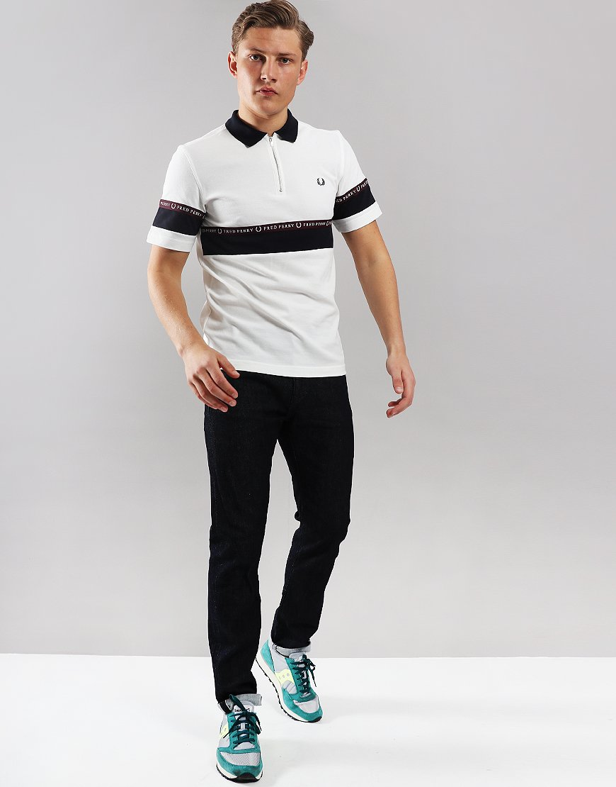 32ac7f93 Fred Perry Sports Tape Half-Zip Polo Shirt Snow White