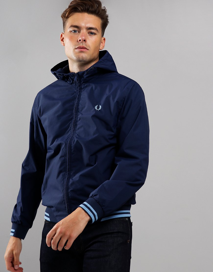 Fred Perry Tipped Hooded Brentham Jacket Carbon Blue