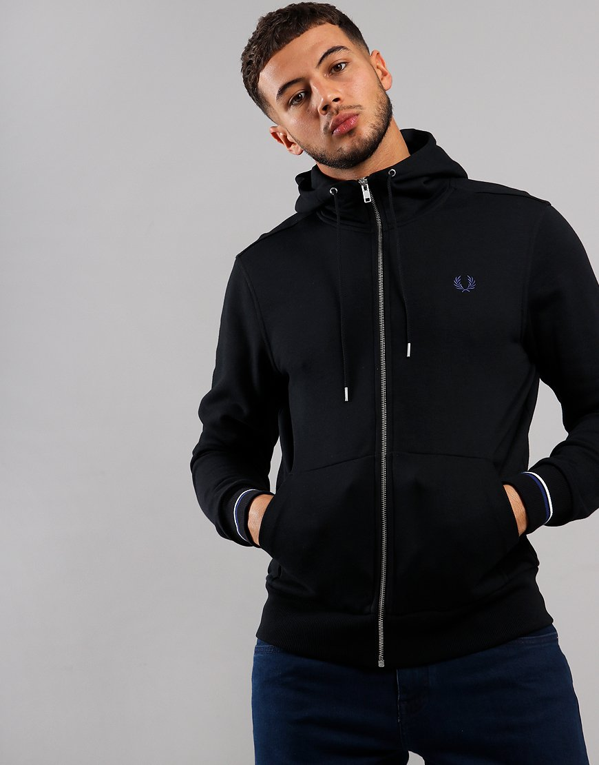 Fred Perry Hooded Zip Sweat Black