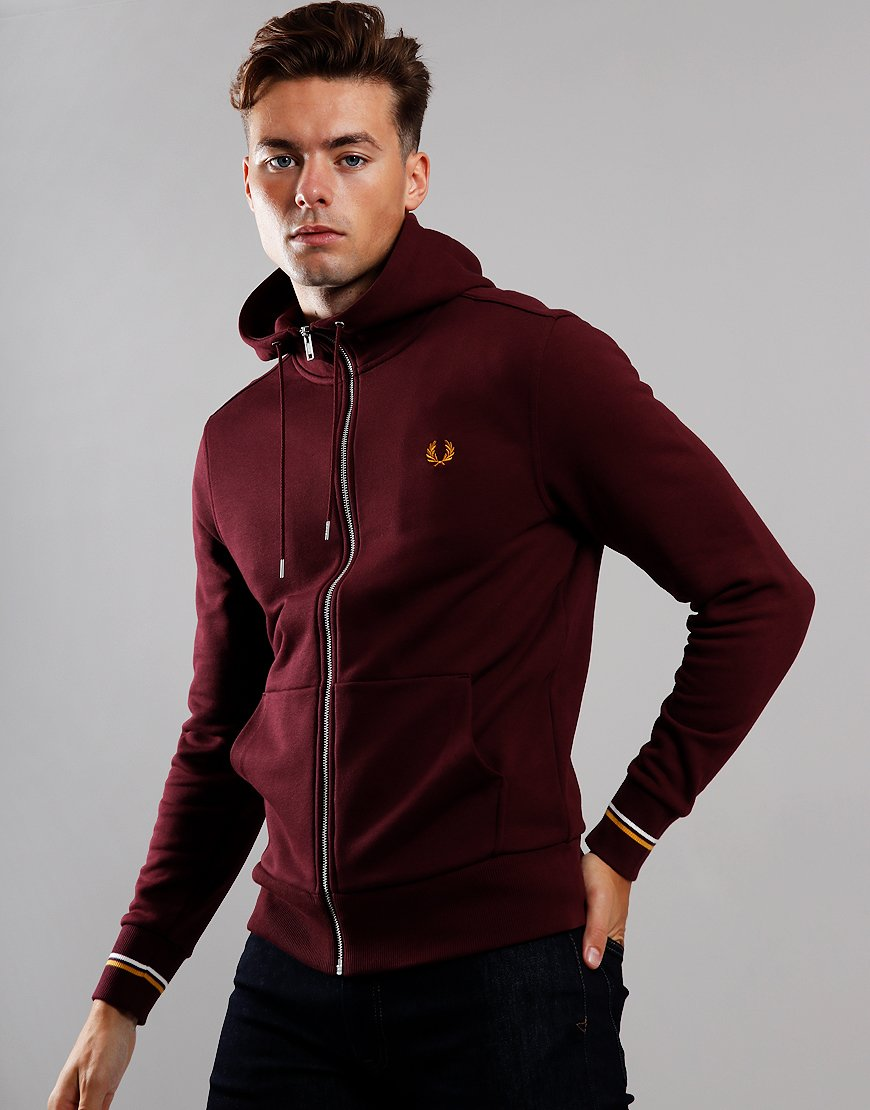 Fred Perry Hooded Zip Sweat Mahogany