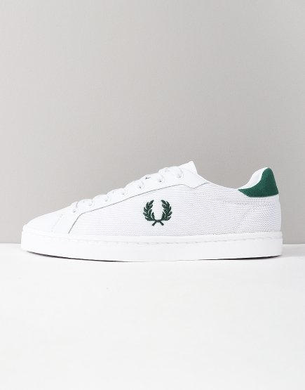 Fred Perry Lawn Leather Mesh Trainers White