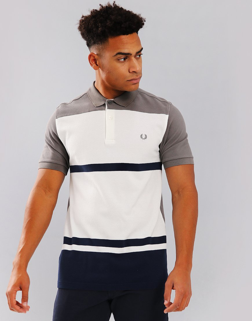 Fred Perry Multi Stripe Pique Polo Shirt Mid Grey