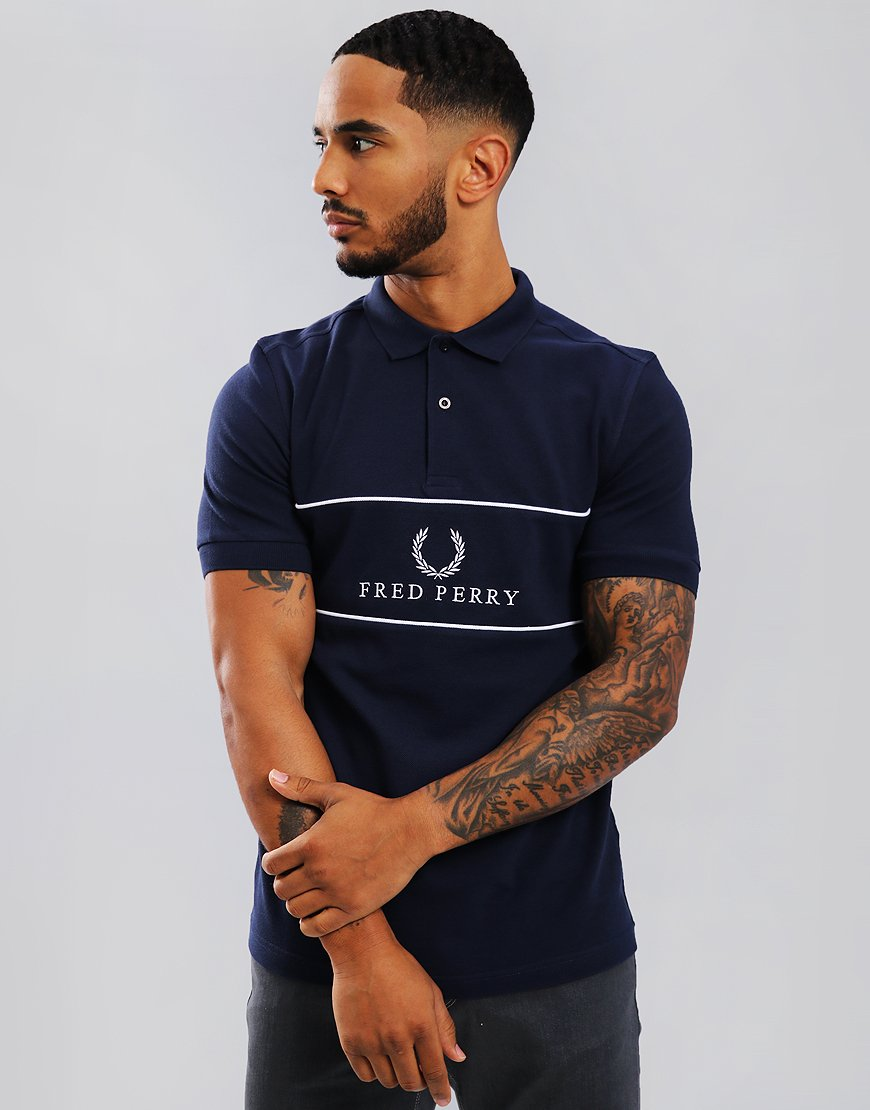Fred Perry Panel Piped Piqué Polo Shirt Carbon Blue