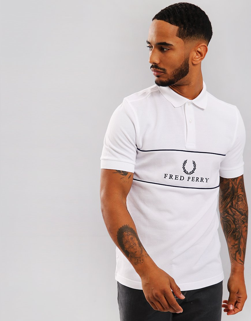 Fred Perry Panel Piped Piqué Polo Shirt White