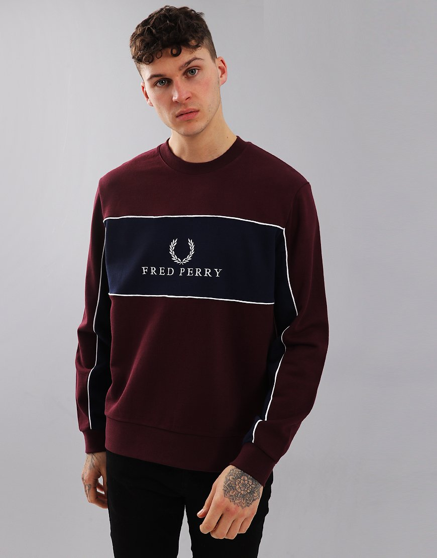 Fred Perry Panel Piped Sweat Mahogany