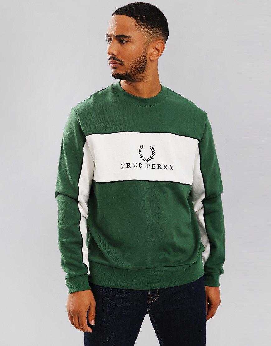 Fred Perry Panel Piped Sweatshirt Tartan Green