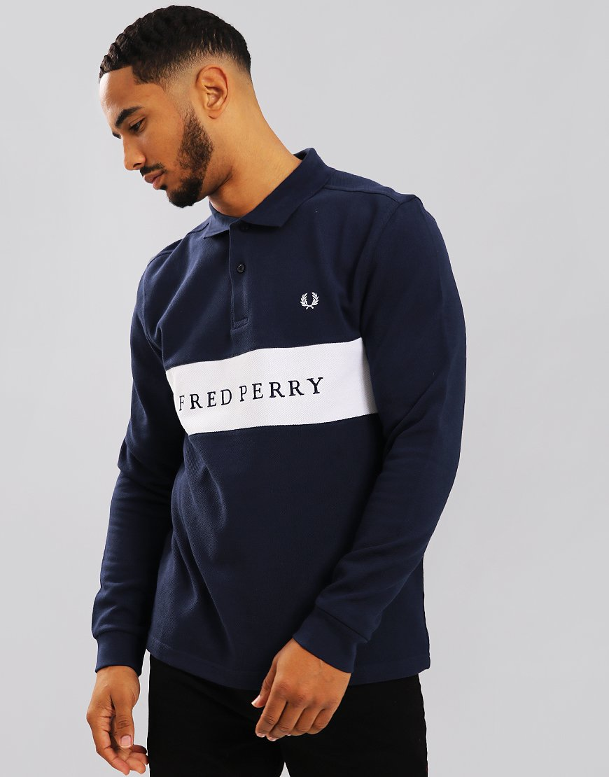Fred Perry Panelled Pique Polo Shirt Carbon Blue