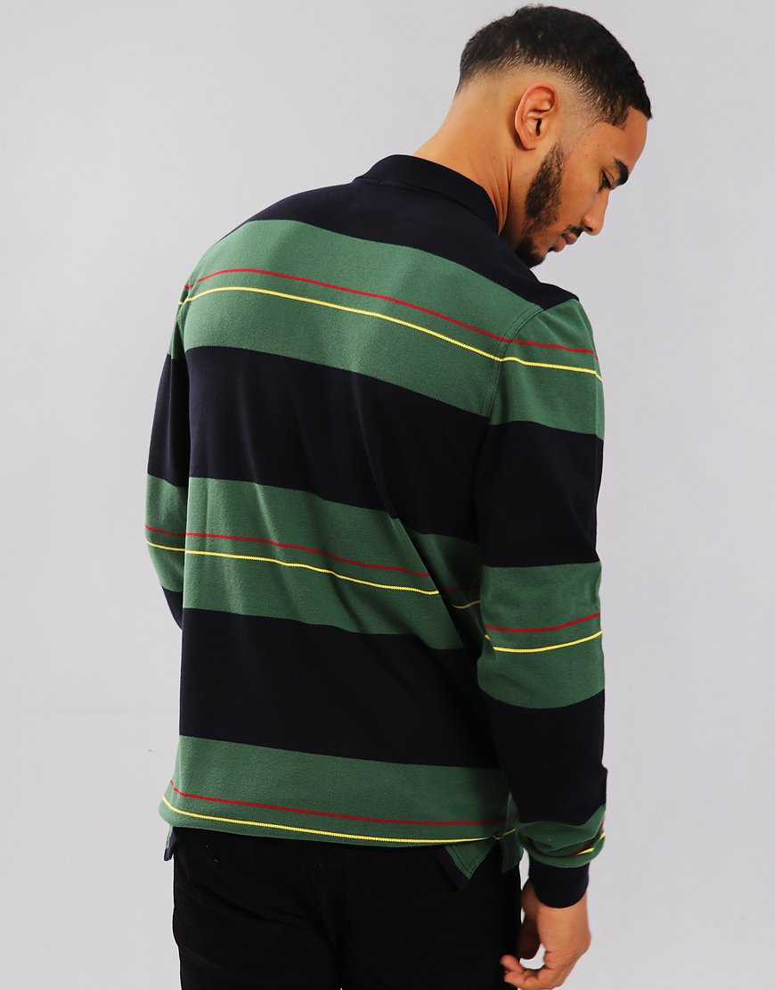 Fred Perry Panelled Stripe Polo Shirt Navy