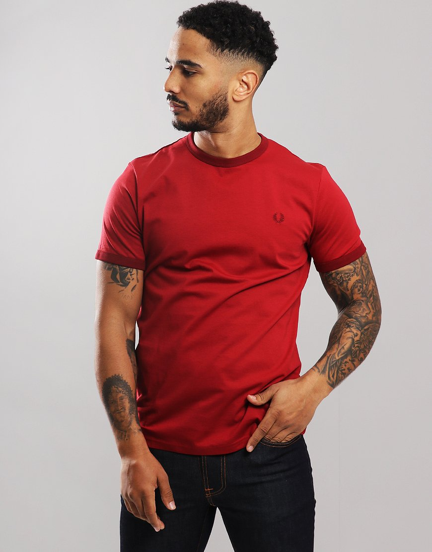 Fred Perry Tonal Ringer T-Shirt Red
