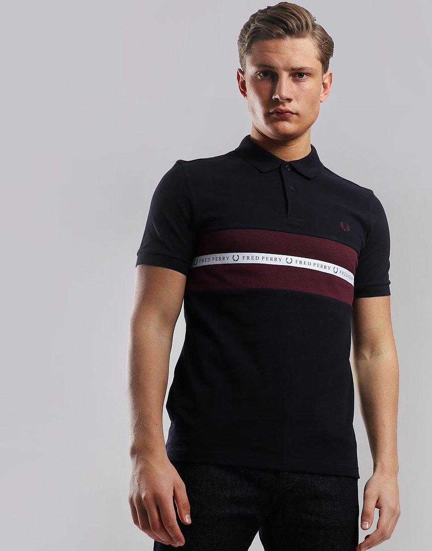 f035014a2 Fred Perry Sports Tape Polo Shirt Navy