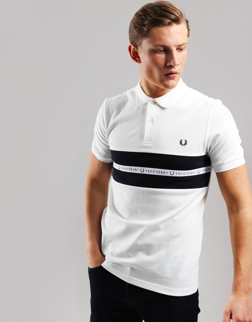 Fred Perry Sports Tape Polo Shirt Snow White