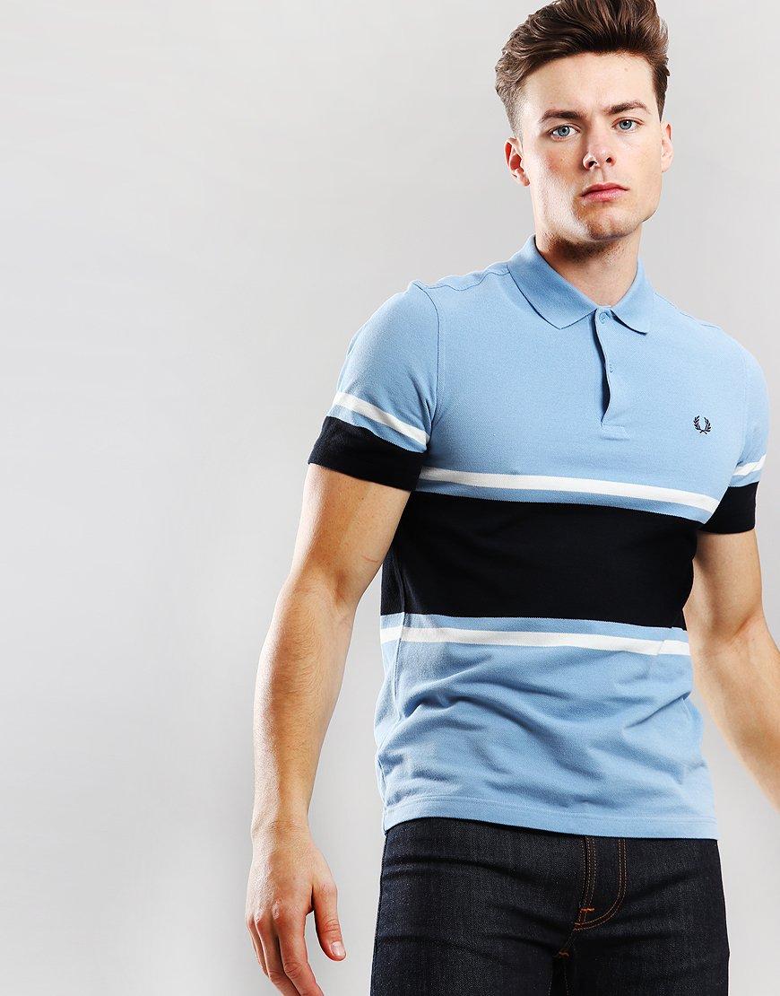 Fred Perry Bold Fine Stripe Polo Shirt Sky