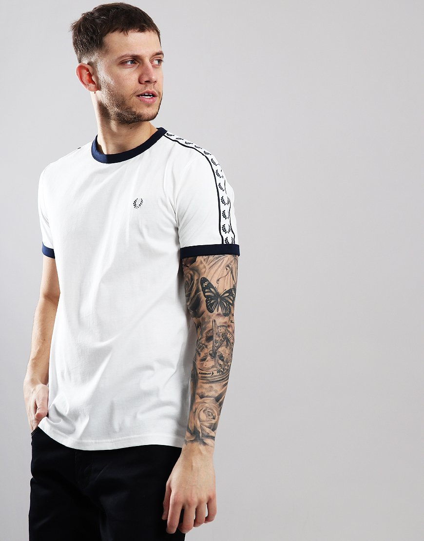 696165139 Fred Perry Taped Ringer T-Shirt Snow White - Terraces Menswear