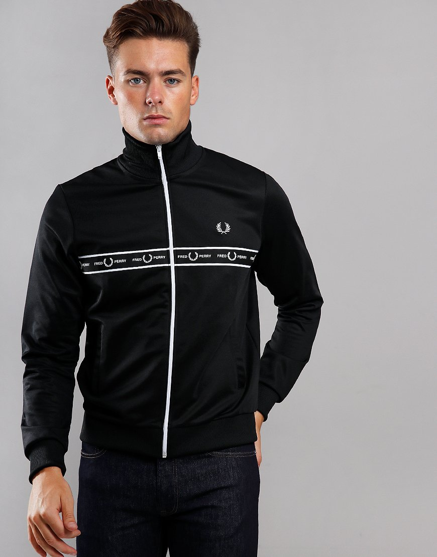 Fred Perry Taped Chest Track Top Black