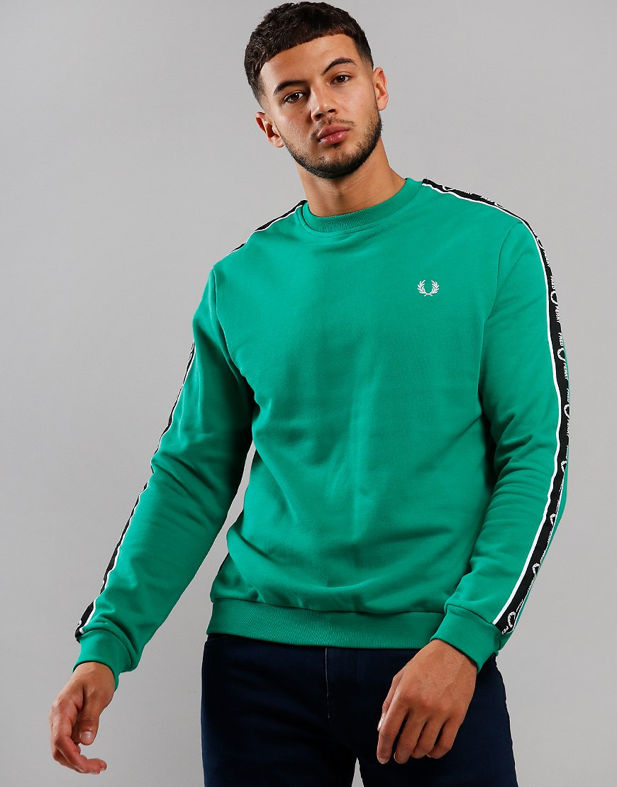 Fred Perry Taped Shoulder Sweat Electric Green
