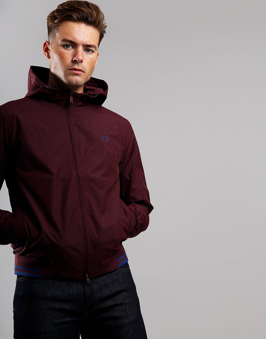 Fred Perry Tipped Hooded Brentham Jacket Mahogany