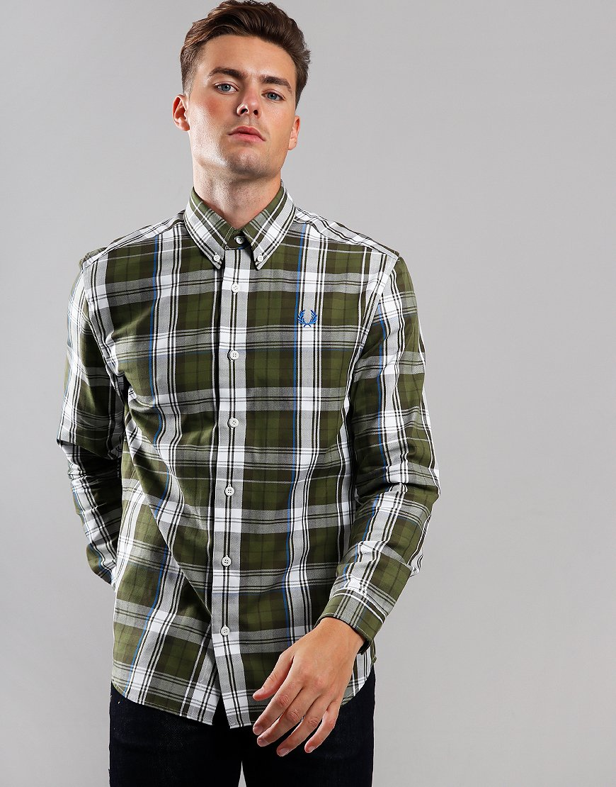 Fred Perry Twill Check Long Sleeve Shirt Dark Thorn