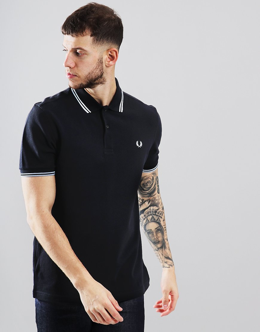 bc0b92126 Fred Perry Twin Tipped Polo Shirt Black/Pale Blue - Terraces Menswear